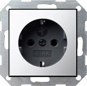 Gira S-55 Хром/Антрацит Розетка с/з